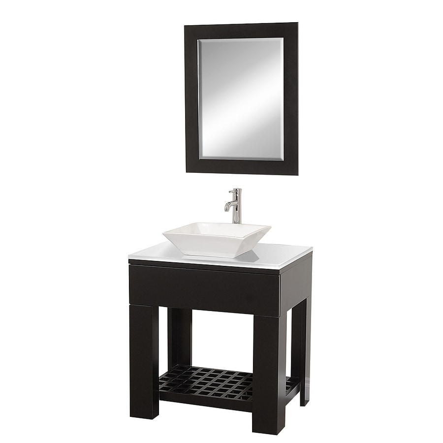 Wyndham Collection Zen Espresso Vessel Single Sink Oak Bathroom Vanity with Glass Top (Mirror Included) (Common: 30-in x 22-in; Actual: 30-in x 22-in)
