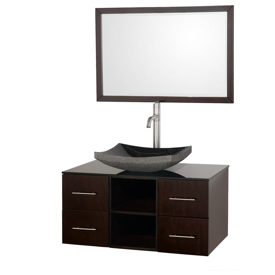 Wyndham Collection Abba Espresso Vessel Single Sink Oak Bathroom Vanity with Glass Top (Mirror Included) (Common: 36-in x 21-in; Actual: 36-in x 21-in)