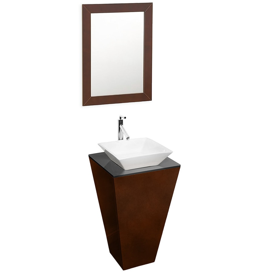 Wyndham Collection Esprit Espresso Vessel Single Sink Oak Bathroom Vanity with Glass Top (Mirror Included) (Common: 21-in x 21-in; Actual: 20.125-in x 20.125-in)