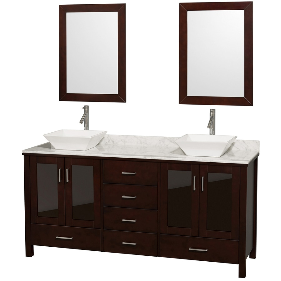 Wyndham Collection Lucy Espresso Vessel Double Sink Oak Bathroom Vanity with Natural Marble Top (Mirror Included) (Common: 72-in x 23-in; Actual: 72-in x 22.75-in)