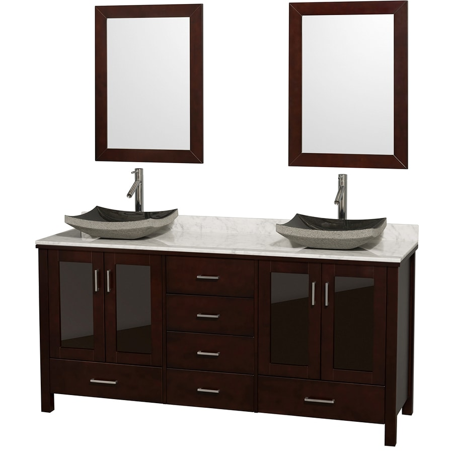 Shop Wyndham Collection Lucy Espresso Vessel Double Sink Oak Bathroom Vanity