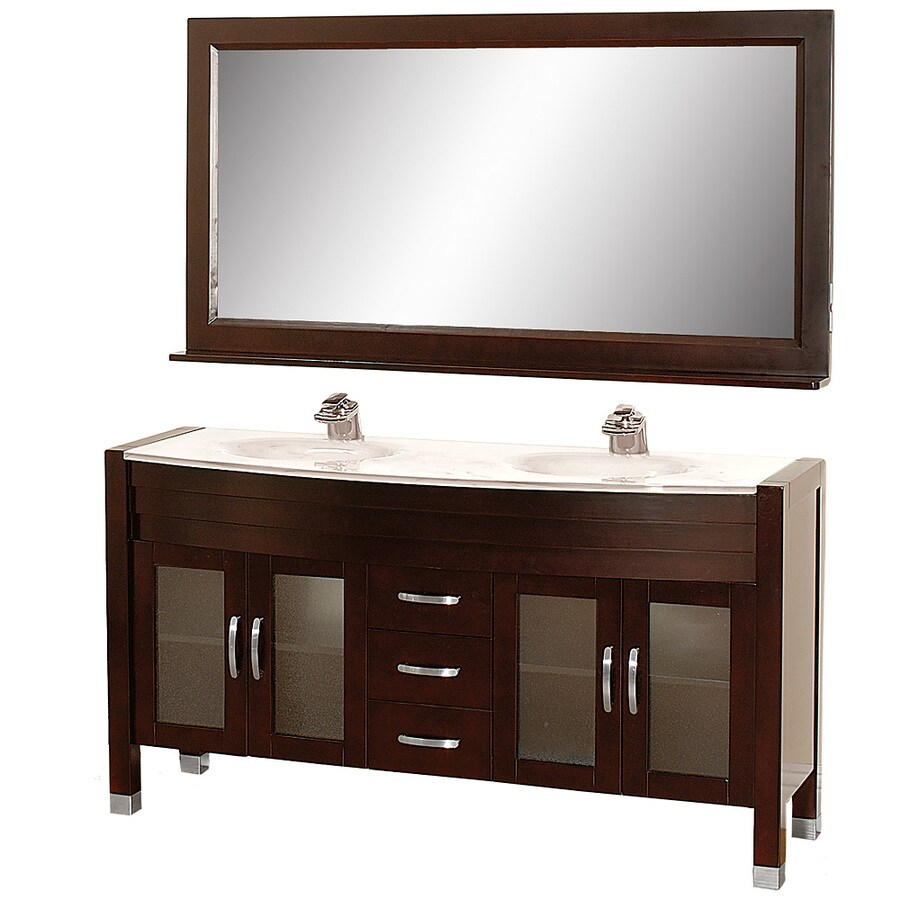Wyndham Collection Daytona Espresso Integral Double Sink Oak Bathroom Vanity with Glass Top (Mirror Included) (Common: 63-in x 22-in; Actual: 62.75-in x 21.75-in)