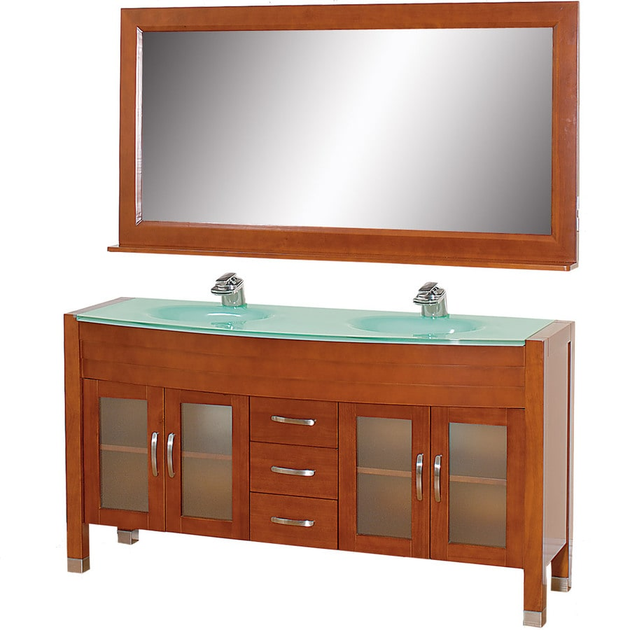Wyndham Collection Daytona Cherry Integral Double Sink Oak Bathroom Vanity with Tempered Glass and Glass Top (Mirror Included) (Common: 63-in x 22-in; Actual: 62.75-in x 21.75-in)