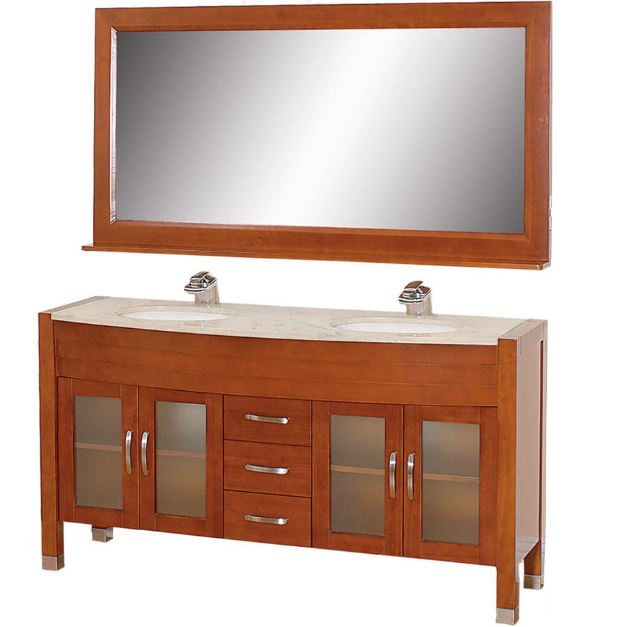 Wyndham Collection Daytona Cherry Undermount Double Sink Oak Bathroom Vanity with Natural Marble Top (Mirror Included) (Common: 63-in x 22-in; Actual: 62.75-in x 21.75-in)