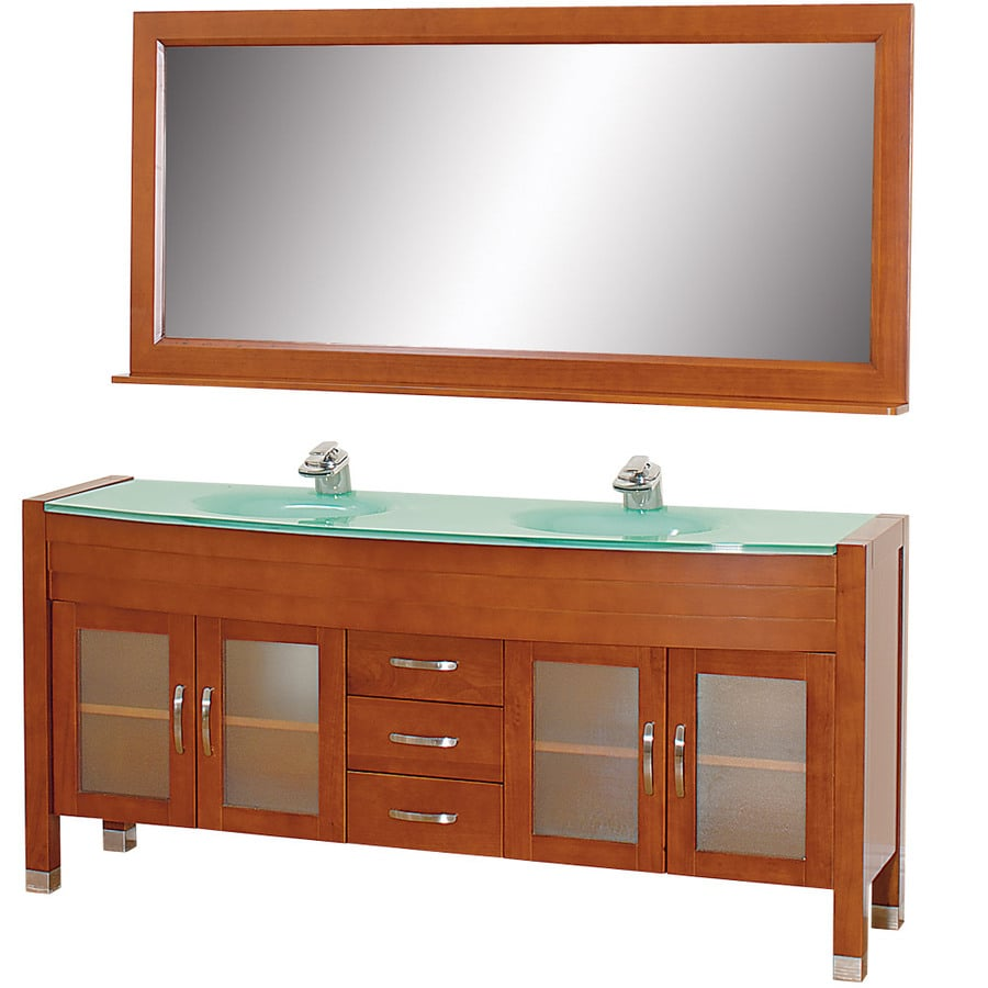 Wyndham Collection Daytona Cherry Integral Double Sink Oak Bathroom Vanity with Tempered Glass and Glass Top (Mirror Included) (Common: 71-in x 22-in; Actual: 70.75-in x 21.5-in)