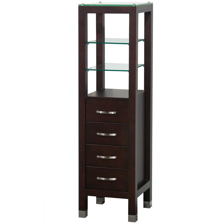 Wyndham Collection 16.25-in W x 59.5-in H x 16-in D Espresso Oak Freestanding Linen Cabinet