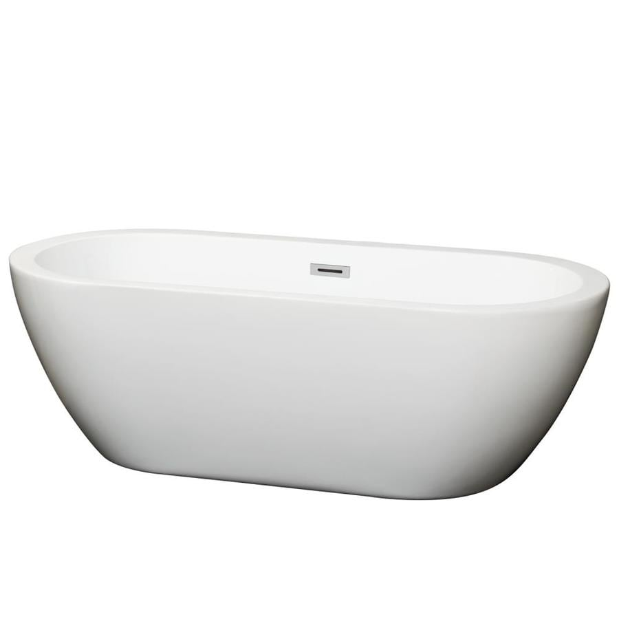 wyndham collection soho white acrylic oval freestanding bathtub with