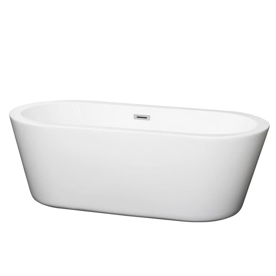 Shop wyndham collection mermaid white acrylic oval for Oval garden tub