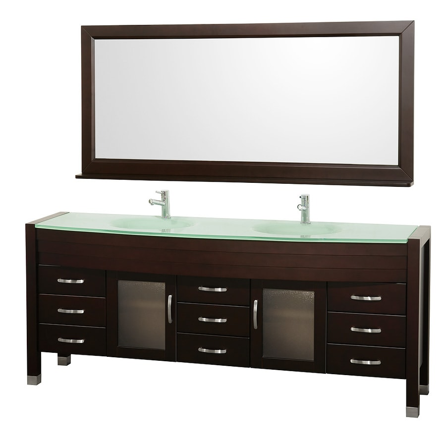 Wyndham Collection Daytona Espresso Integral Double Sink Oak Bathroom Vanity with Tempered Glass and Glass Top (Mirror Included) (Common: 78-in x 22-in; Actual: 78-in x 21.675-in)