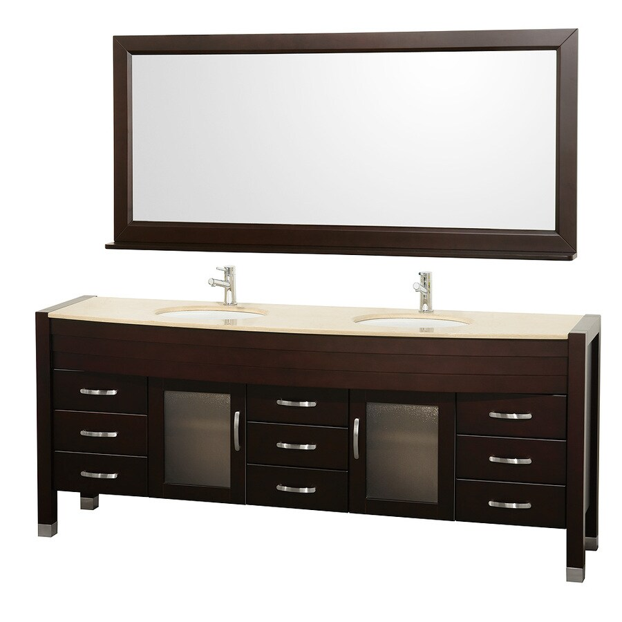 Wyndham Collection Daytona Espresso Integral Double Sink Oak Bathroom Vanity with Natural Marble Top (Mirror Included) (Common: 78-in x 22-in; Actual: 78-in x 21.675-in)