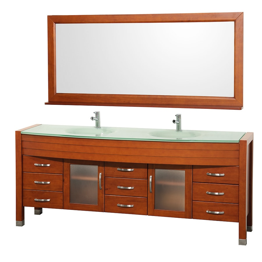 Wyndham Collection Daytona Cherry Integral Double Sink Oak Bathroom Vanity with Tempered Glass and Glass Top (Mirror Included) (Common: 78-in x 22-in; Actual: 78-in x 21.675-in)