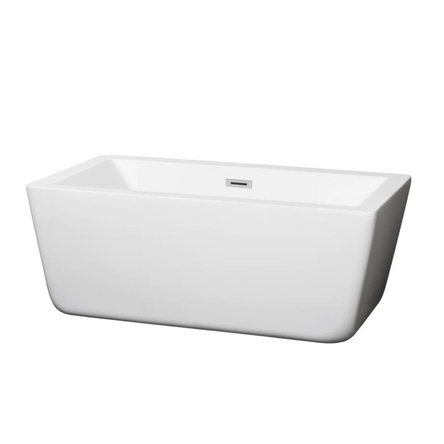 Wyndham Collection Laura White Acrylic Rectangular Freestanding Bathtub with Center Drain (Common: 28-in x 59-in; Actual: 21.25-in x 27.375-in x 58.75-in)