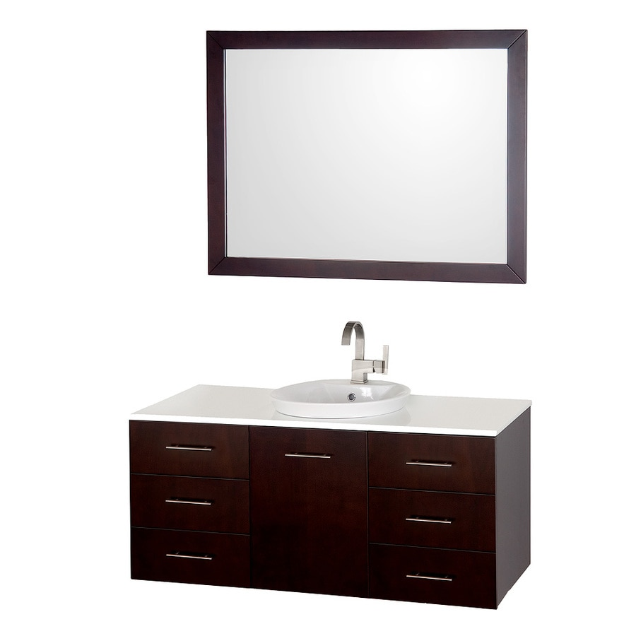 Wyndham Collection Arrano Espresso Drop-in Single Sink Bathroom Vanity with Engineered Stone Top (Mirror Included) (Common: 48-in x 21-in; Actual: 48-in x 21-in)