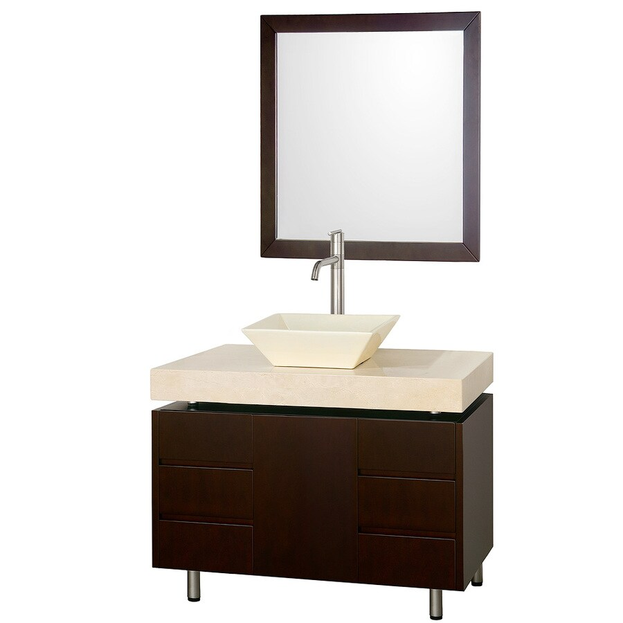 Wyndham Collection Malibu Espresso Vessel Single Sink Bathroom Vanity with Natural Marble Top (Mirror Included) (Common: 36-in x 22-in; Actual: 36.13-in x 22.06-in)