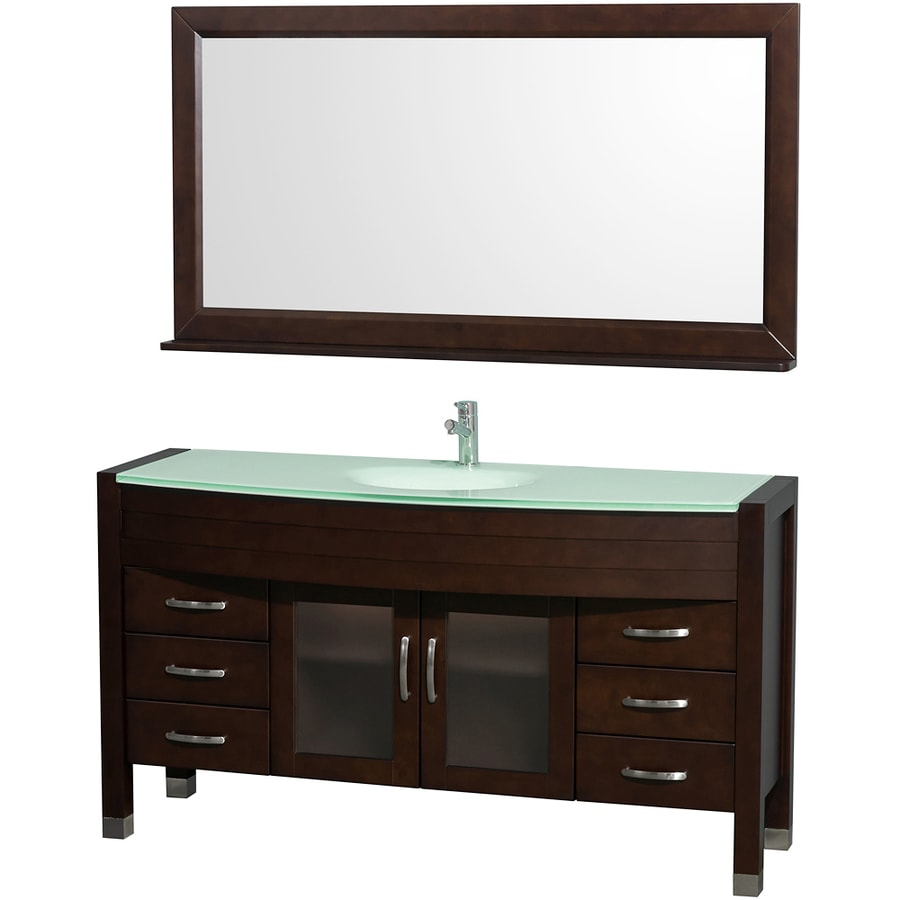 Wyndham Collection Daytona Espresso Integral Single Sink Oak Bathroom Vanity with Tempered Glass and Glass Top (Mirror Included) (Common: 60-in x 22-in; Actual: 60-in x 22-in)
