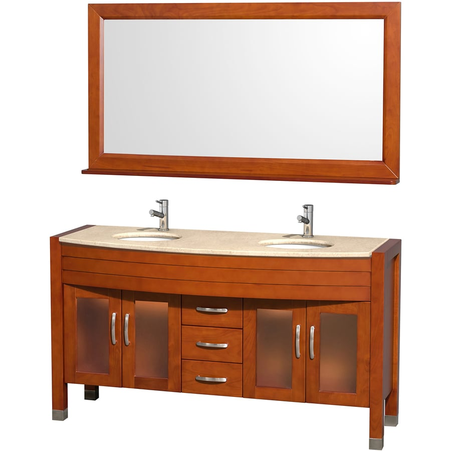 Wyndham Collection Daytona Cherry Undermount Double Sink Oak Bathroom Vanity with Natural Marble Top (Mirror Included) (Common: 60-in x 22-in; Actual: 60-in x 22-in)