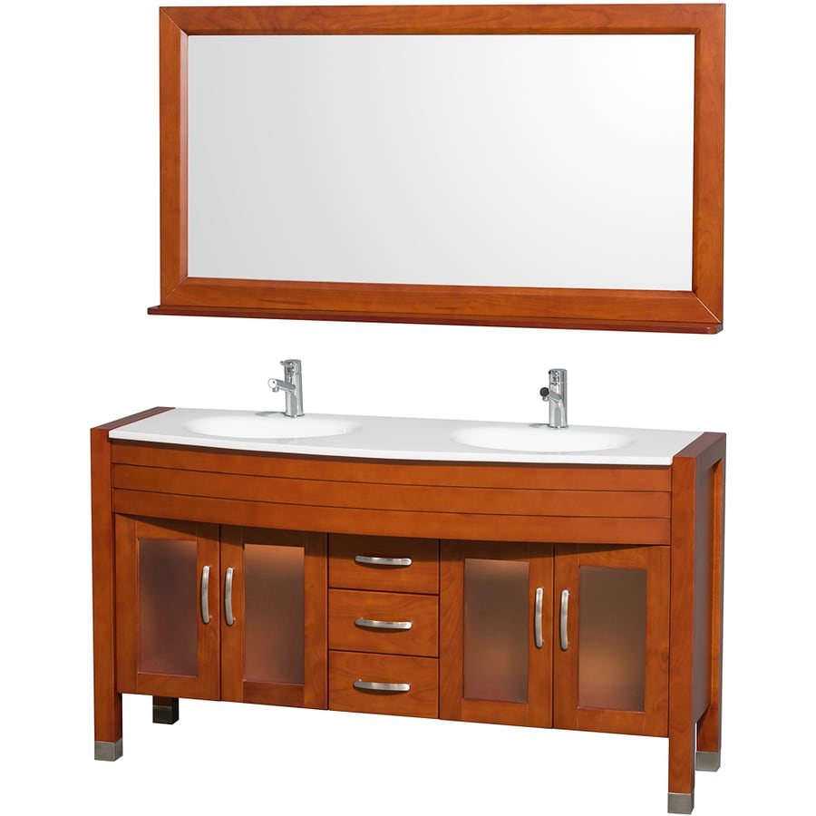 Wyndham Collection Daytona Cherry Integral Double Sink Oak Bathroom Vanity with Engineered Stone Top (Mirror Included) (Common: 60-in x 22-in; Actual: 60-in x 22-in)