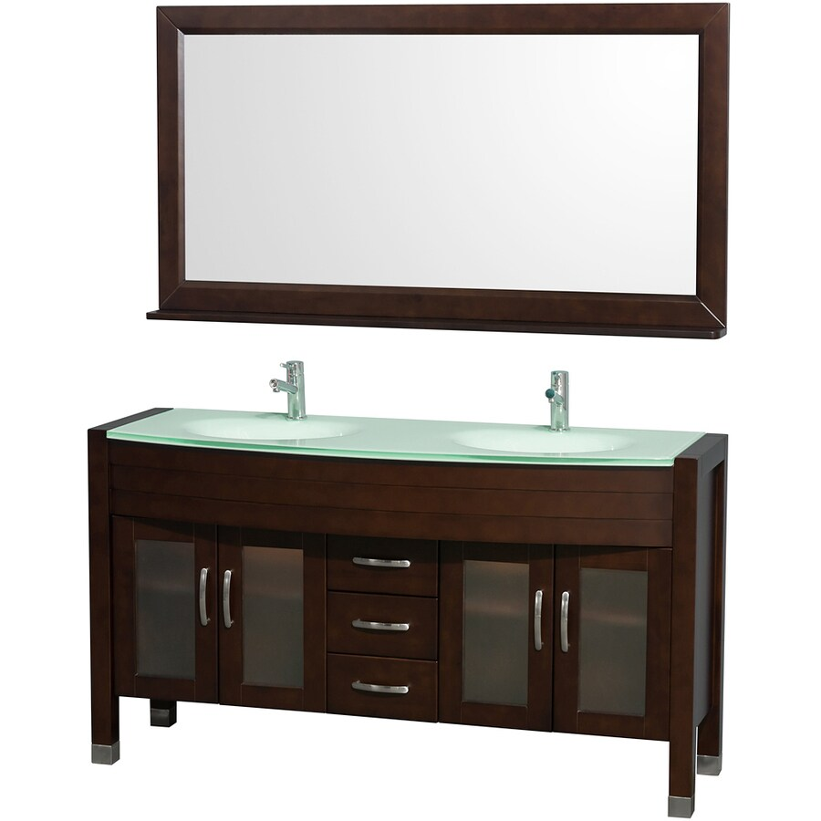 Wyndham Collection Daytona Espresso Integral Double Sink Oak Bathroom Vanity with Tempered Glass and Glass Top (Mirror Included) (Common: 60-in x 22-in; Actual: 60-in x 22-in)