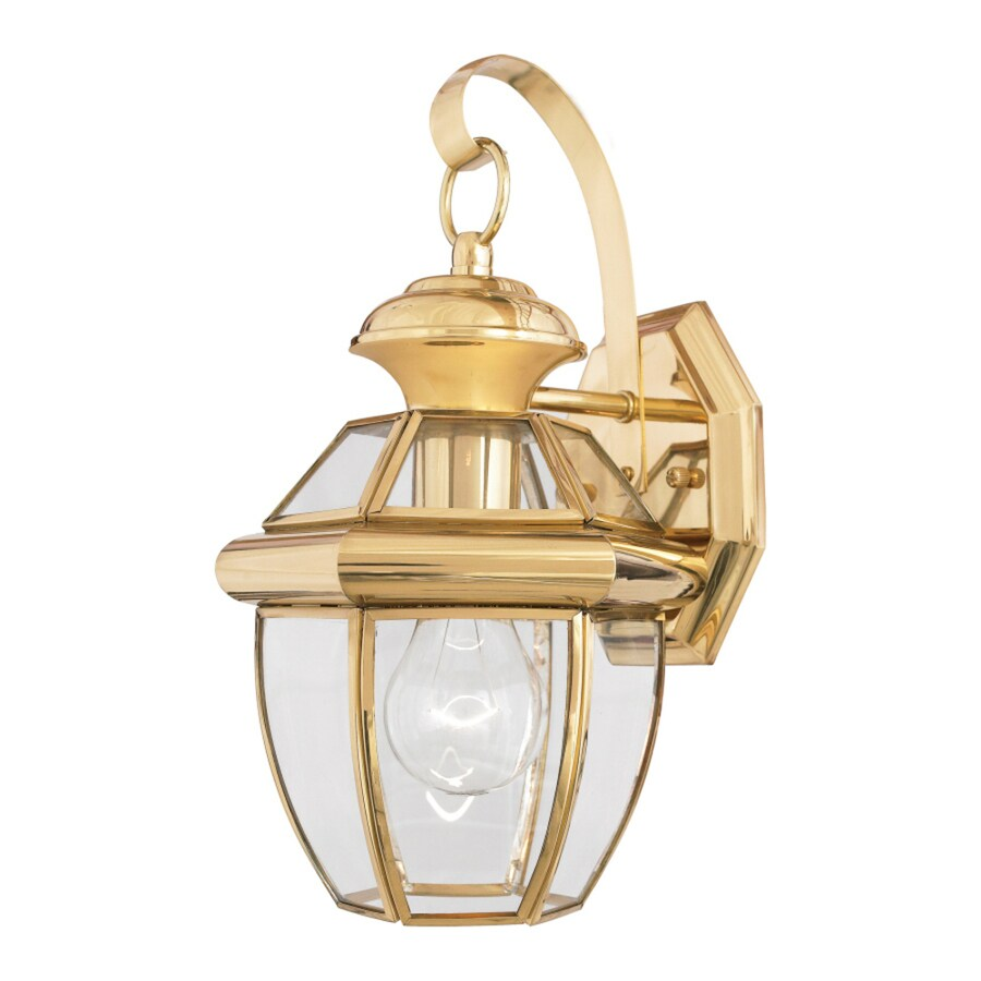 Herman 8-in W 1-Light Polished Brass Pocket Wall Sconce