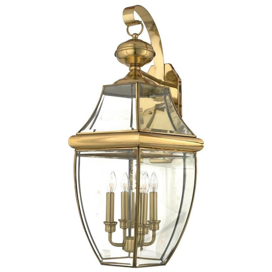 Natalia 19-in W 4-Light Polished Brass Pocket Wall Sconce
