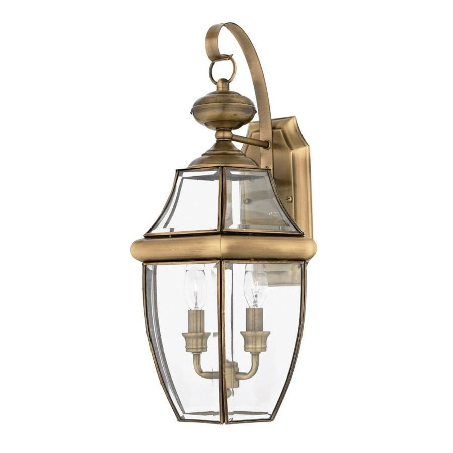 Natalia 12-in W 2-Light Antique Brass Pocket Wall Sconce