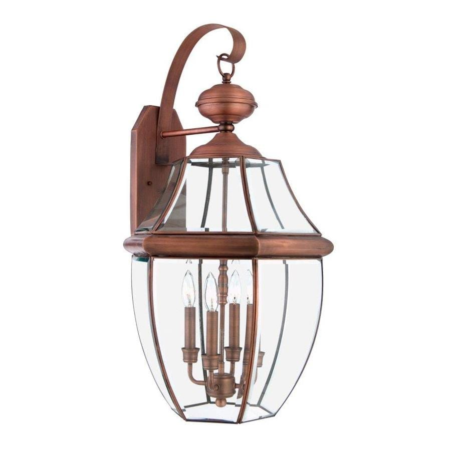 Natalia 19-in W 4-Light Aged Copper Pocket Wall Sconce