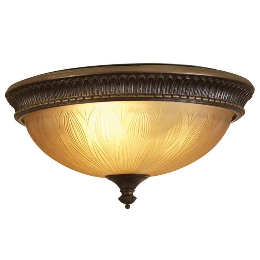 allen + roth 15-in W Dark Oil-Rubbed Bronze Flush Mount Light