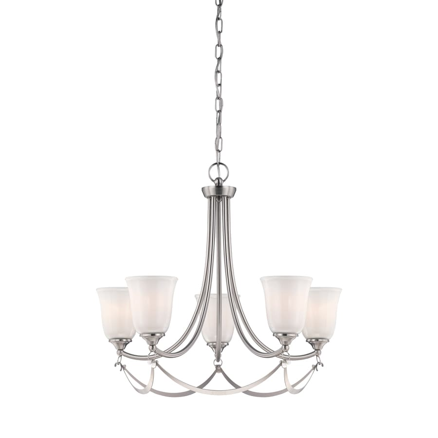 allen + roth Winnsboro 25-in 5-Light Brushed Nickel Coastal Tinted Glass Tiered Chandelier
