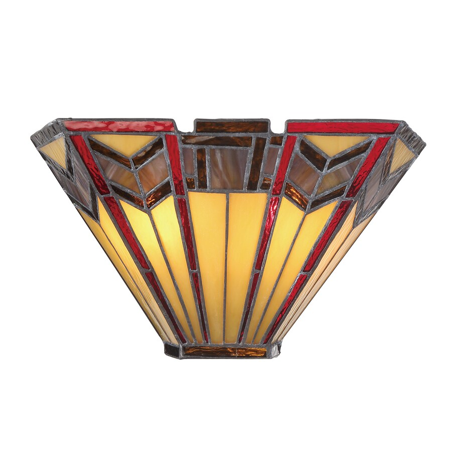 Lowes Tiffany Wall Sconces : Shop allen + roth Ascension Ridge 12.25-in W 2-Light Antique Bronze Tiffany-Style Pocket Wall ...