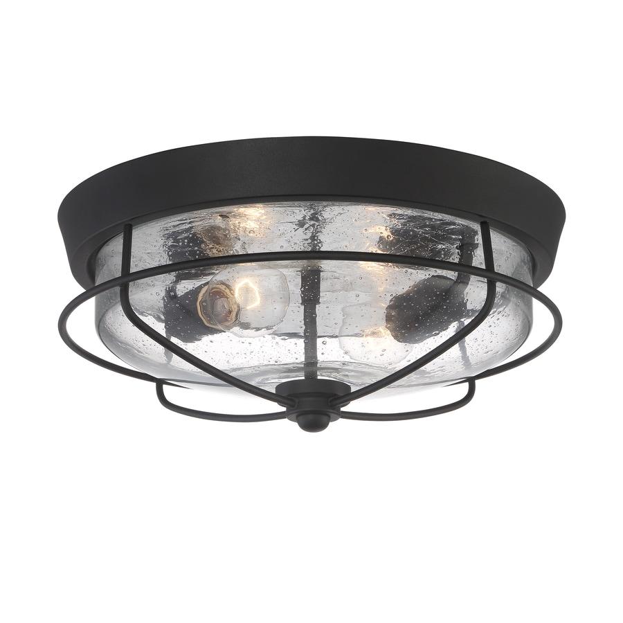 Portfolio Valdara 14.5-in W Matte Black Outdoor Flush-Mount Light