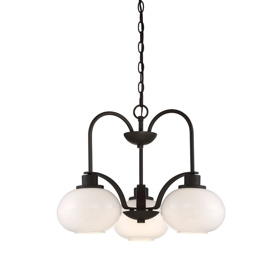 Quoizel Tribeca 22-in 3-Light Bronze Industrial Tinted Glass Tiered Chandelier