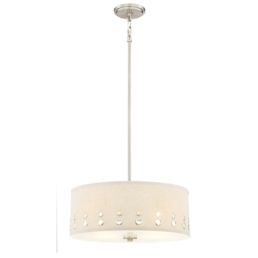Quoizel Park Avenue 18.125-in Brushed Nickel Country Cottage Multi-Light Drum Pendant