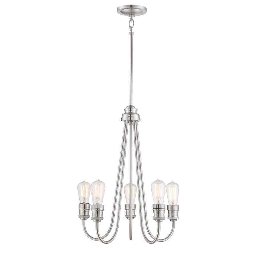 Quoizel Soho 23.75-in 5-Light Brushed Nickel Industrial Clear Glass Tiered Chandelier