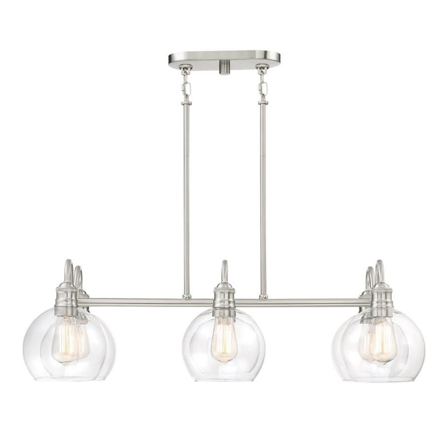 Quoizel Soho 33.125-in W 6-Light Brushed Nickel Kitchen Island Light with Clear Shade