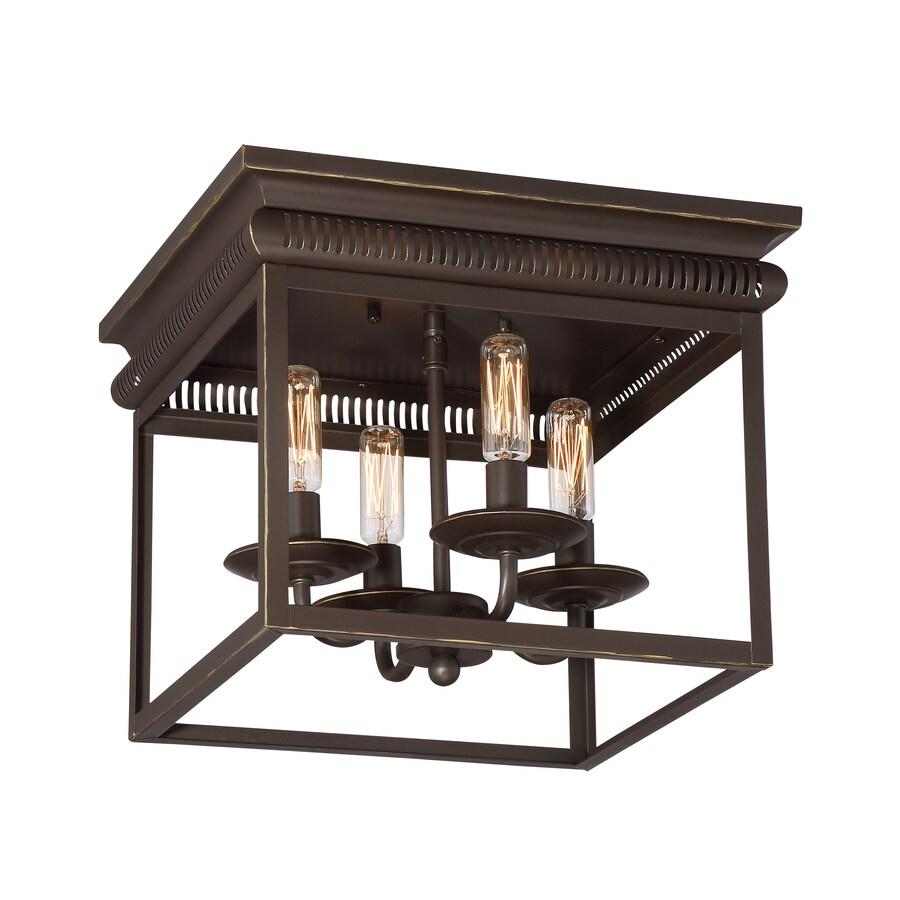 Shop quoizel marquee 12 in w bronze ceiling flush mount - Flush mount bathroom ceiling lights ...