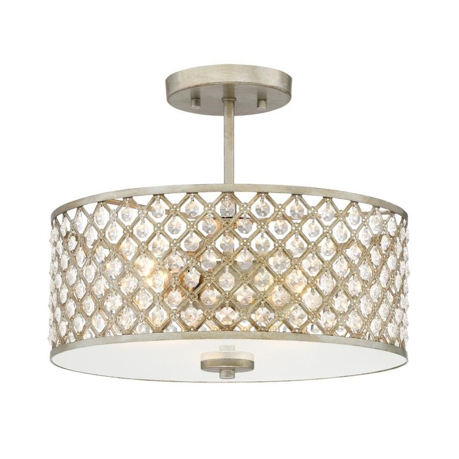 Quoizel Juliana 14.25-in W Gold Etched Glass Semi-Flush Mount Light