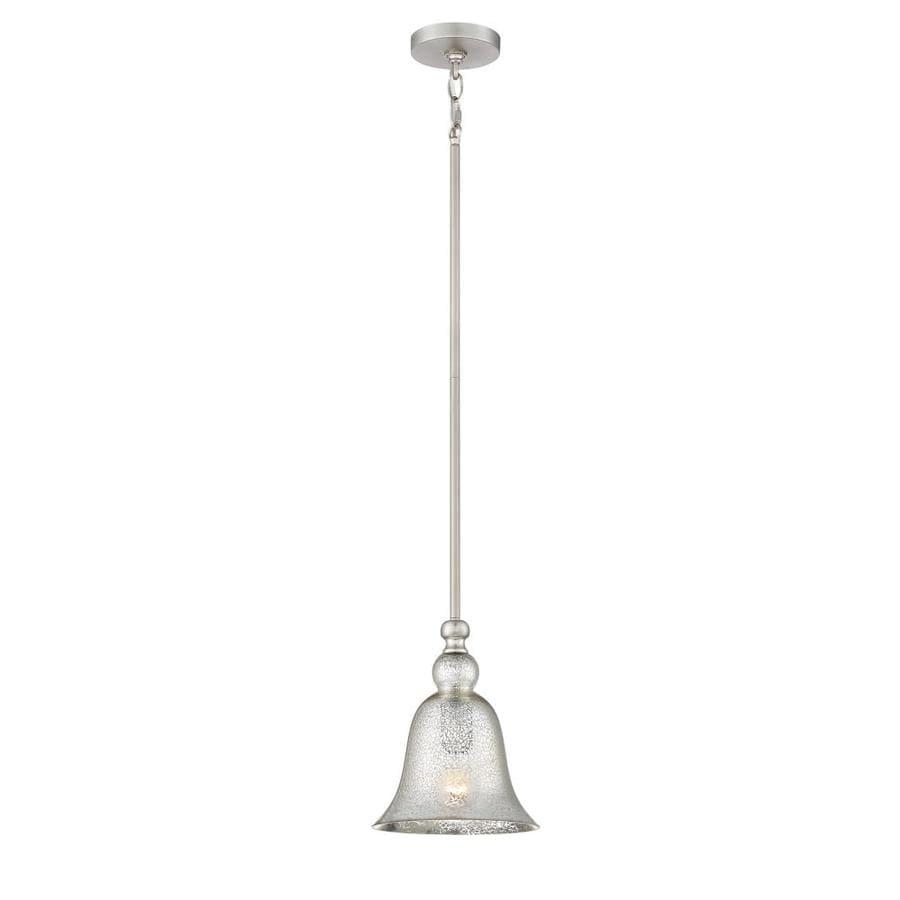 Quoizel Berkeley 8.25-in Brushed Nickel Vintage Mini Mercury Glass Bell Pendant