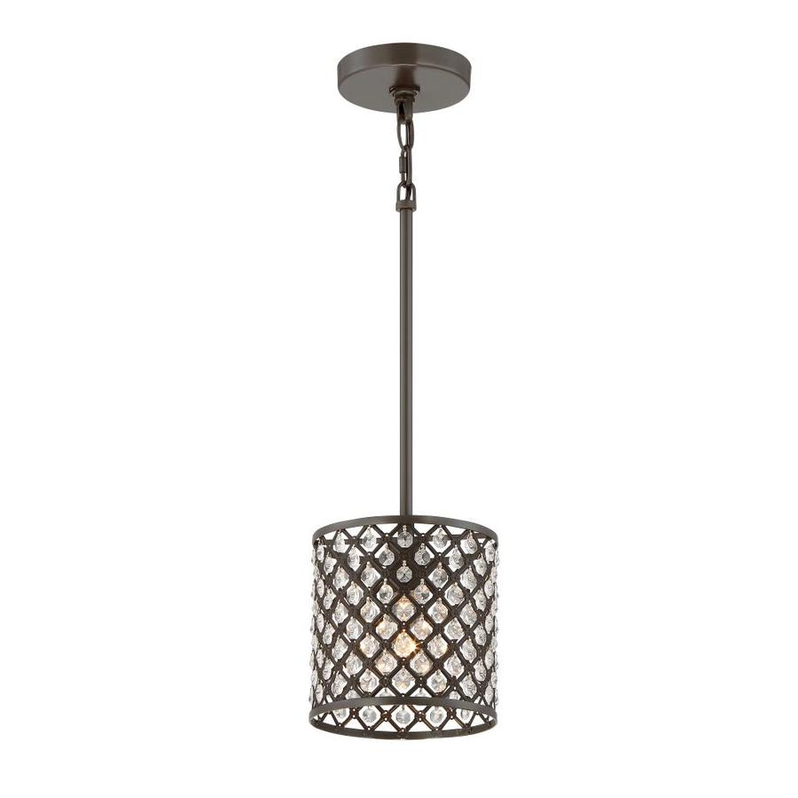 Quoizel Juliana 7-in Painted Bronze Crystal Mini Cage Pendant