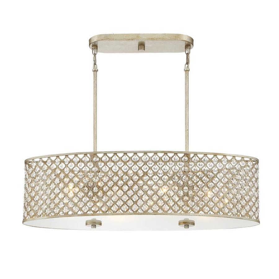 Quoizel Juliana 32.12-in W 4-Light Vintage Gold Kitchen Island Light with Shade