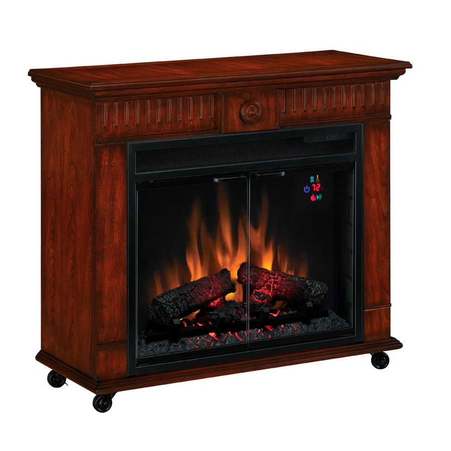 Chimney Free 31-in W Vintage Cherry Wood Electric Fireplace with Thermostat and Remote Control