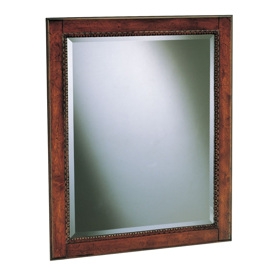 Style Selections Vinton 24-in W x 25-in H Sienna Rectangular Bathroom Mirror