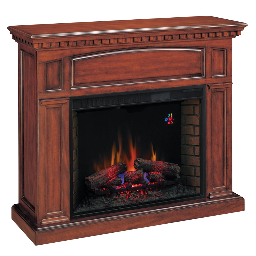 Chimney Free 53-in W 4,600-BTU Premium Cherry Wood and Metal Wall Mount Electric Fireplace with Thermostat and Remote Control