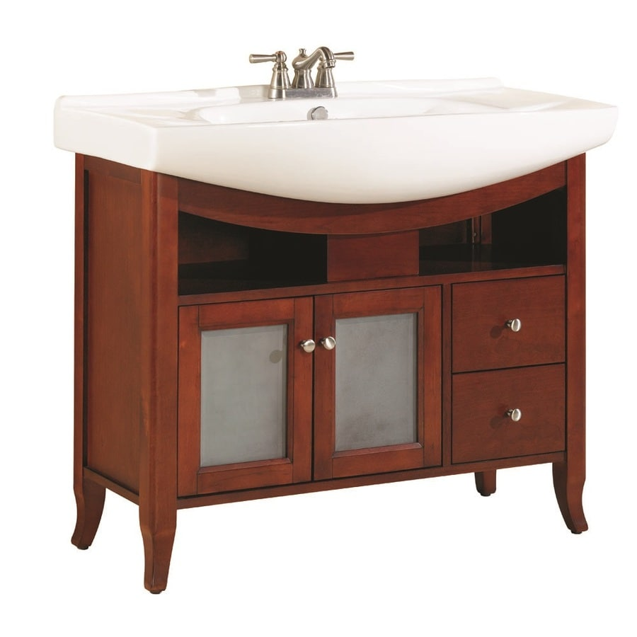 allen + roth Largo Cherry Integral Single Sink Birch Bathroom Vanity with Vitreous China Top (Common: 39-in x 20-in; Actual: 39.75-in x 20.25-in)