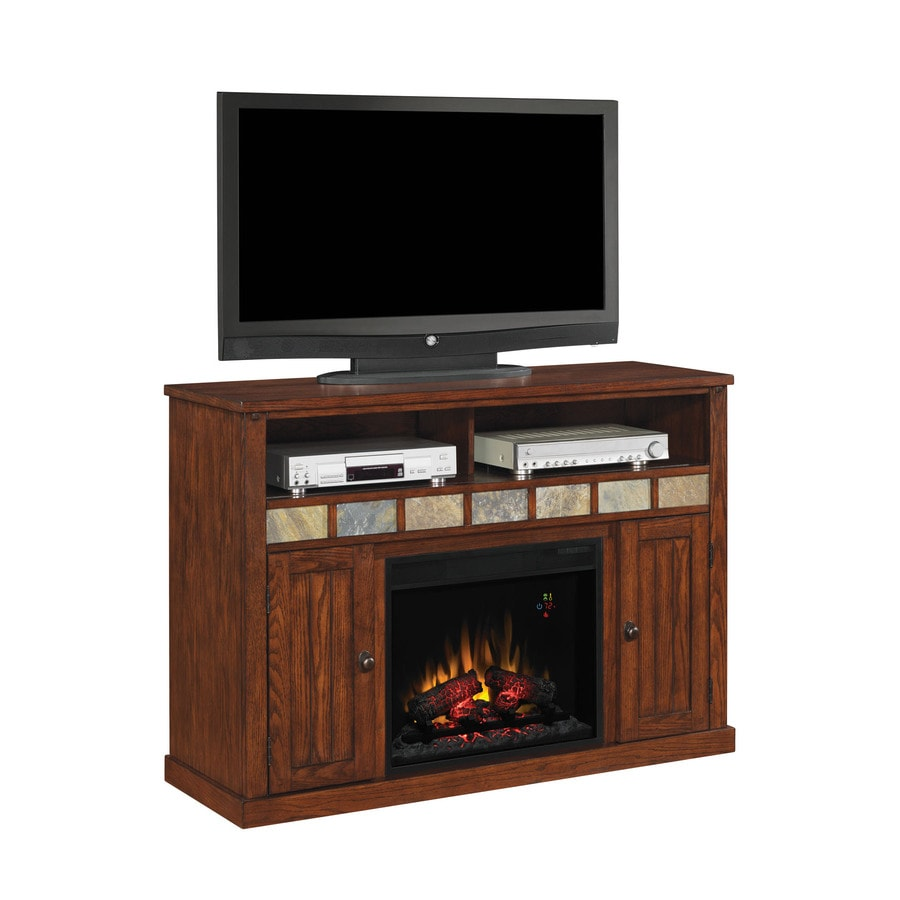 52-in W 4,600-BTU Caramel Oak Wood Fan-Forced Electric Fireplace with Thermostat and Remote Control