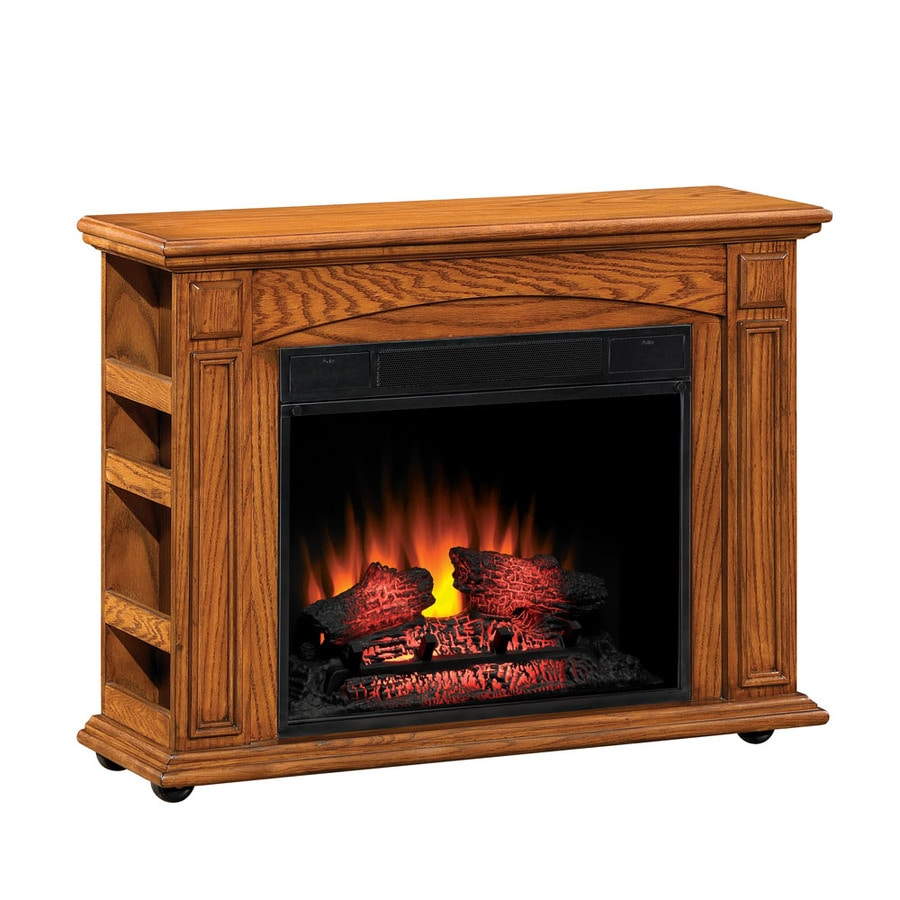 Style Selections 37-in W 4,600-BTU Premium Oak Wood and Metal Fan-Forced Electric Fireplace with Thermostat