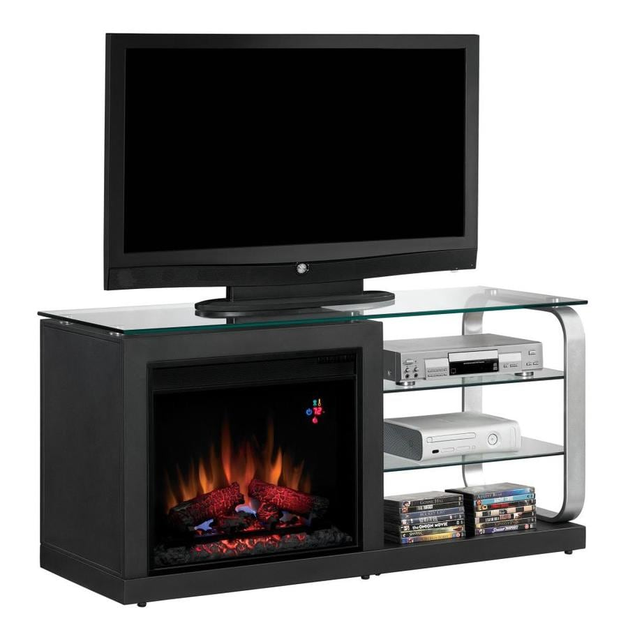 Chimney Free 52-in W 4,600-BTU Black and Silver Metal Wood and Metal Fan-Forced Electric Fireplace with Thermostat and Remote Control