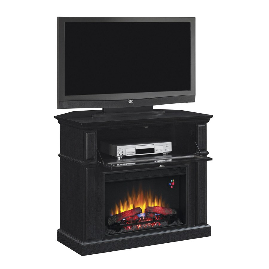 Chimney Free 40-in W 4,600-BTU Black Wood and Metal Corner or Wall Mount Electric Fireplace with Thermostat and Remote Control
