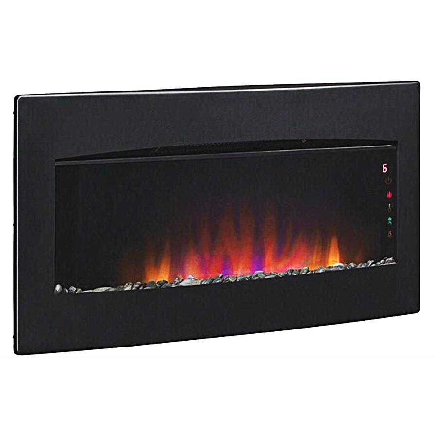 Style Selections 33.62-in W 1,350-BTU Black Metal Wall-Mount Electric Fireplace with Thermostat and Remote Control
