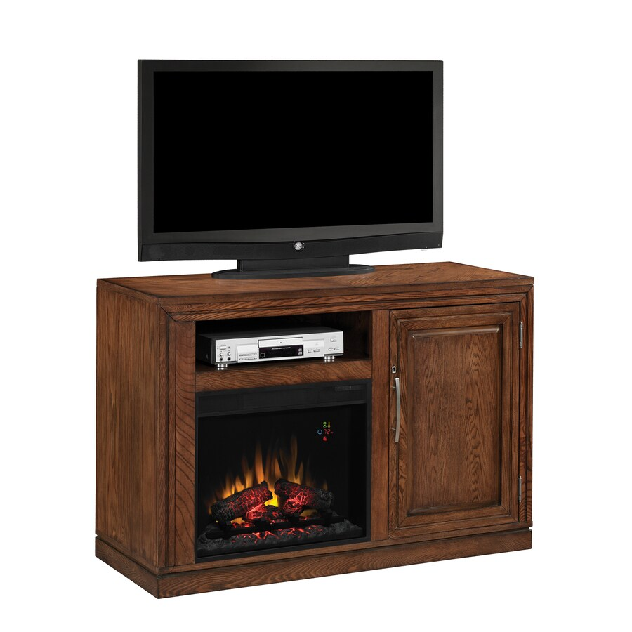 50.75-in W 4,600-BTU Oak Wood Fan-Forced Electric Fireplace with Thermostat and Remote Control