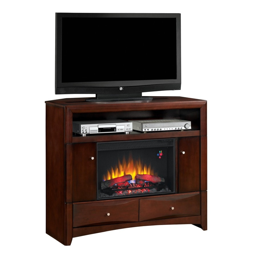 ClassicFlame 47.5-in W 4,600-BTU Walnut Wood Corner Fan-Forced Electric Fireplace with Thermostat and Remote Control
